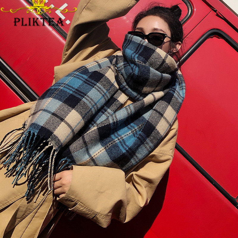 2020 Faux Cashmere Plaid Scarf For Women Wool Pashmina Winter Warm Shawl Female Plaid Poncho Ladies Thick Blanket Tassel Scarves
