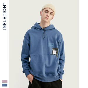 Image 3 - INFLATION FW 2020 Dropped Shoulders Men Hoodies In Pink And Blue With Letter Printing Oversized Men Design Autumn Hoodie 9615W