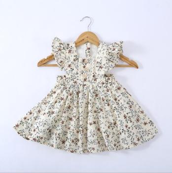 Baby Girls Child Fly Sleeve Flower Ruffles Beige Color Summer Clothes Party Holiday Fashion Ruffles New Clothing Dress
