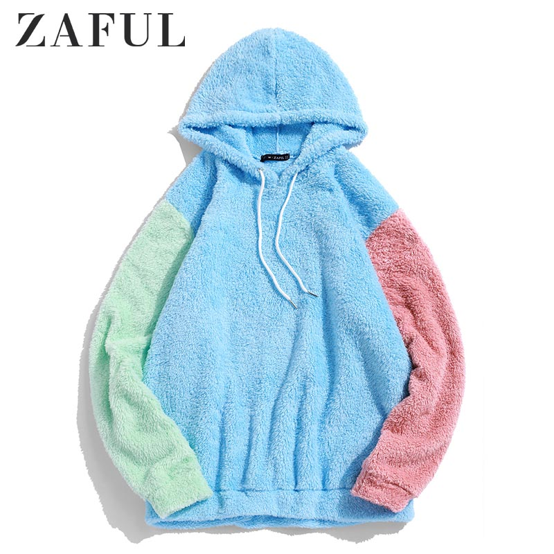 ZAFUL Men's Hoodies Color-blocking Splicing Fuzzy Pullover Hoodie Women Autumn Drawstring Sweatshirts Streetwear Men Color Tops
