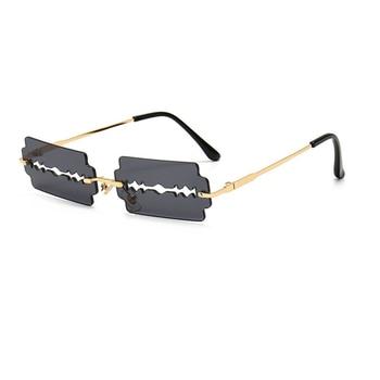 Hollow Punk Square Sunglasses Women Rimless Sun glasses 2020 Vintage Unique Black Steampunk Men Frameless Shade UV400