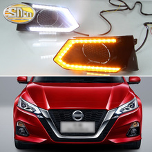 цена на For Nissan Teana Altima 2019 LED Daytime Running Lights Fog Lamp Cover DRL with Yellow Turn Signal Functions