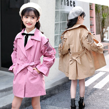 Toddler Girl Windbreaker Jackets Spring Autumn Children's Cotton Long Trench Coat Korea Kids Outerwear Clothes for Girls 6 8 12 big girls trench coats long cotton jackets for girls outerwear lace double breasted girls windbreaker spring autumn kids clothes