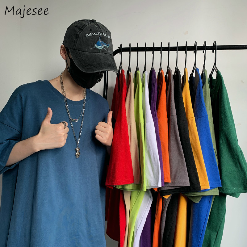 Men Short Sleeve T-shirts 2020 Summer New Solid All-match Korean Style Simple Harajuku Couple Casual Trendy Ulzzang Daily Chic