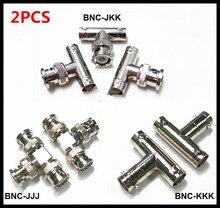 2PCS BNC-JKK/JJJ/KKK BNC all-copper three-head adapter with Q9T head from male to female tee