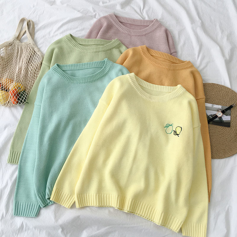 Fruit Embroidery Sweater Women Casual Oversize Loose Long Sleeve O-neck Pullover Female Yellow Green Purple Tops Sweater