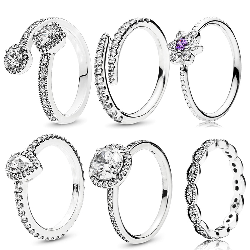 7 Styles Silver Water Droplets Fine Finger Ring with Clear CZ Rings for Women Wedding Original Jewelry Female Wedding Gifts