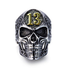 Masculino personalidade do vintage crânio anéis festa da motocicleta número sorte 13 anéis para barra dominador punk legal dedo anéis jóias