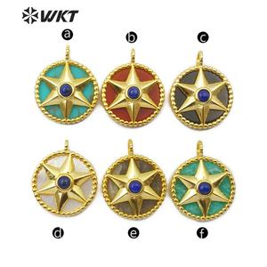 Image 2 - WT P1488 Natural Stone Pendant Round Shape Gold Electroplated Hexagonal Star With Stone Bead Fashion Woman  Pendant
