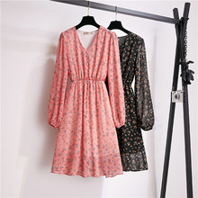 Chiffon Mini Dress Autumn Vintage Casual Chic Black V Neck Floral Dress Long Sleeve Fresh Cute Pink Ladies Dresses Elegant S-XL korean kawaii black elegant dress long sleeve button turn down collar autumn dress women s xl sweet simple casual dresses ladies