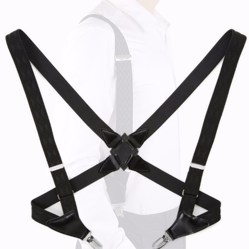 Men's Suspenders With 2 Side Clips, 1 Inch Wide Braces Heavy Duty