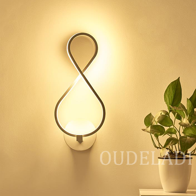 Image 3 - Lámpara de pared de cabecera de dormitorio Led, lámpara artística moderna y creativa, lámpara artística de pared, luces acrílicas para pasillo y escaleraLámparas LED de pared de interior   -