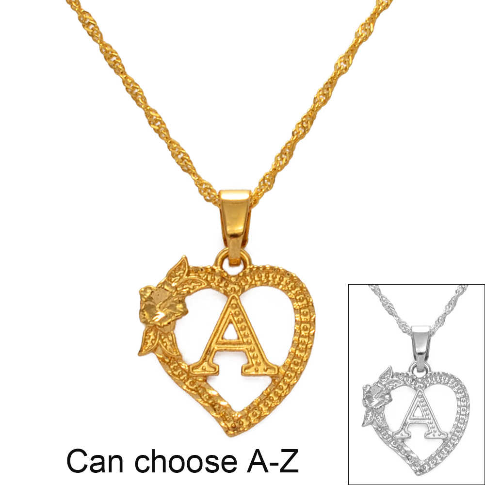 Anniyo A-Z Hawaiian Flower Heart Letters Pendant Necklaces Gold/Silver Color African Initial Jewelry Alphabet Christmas #232706