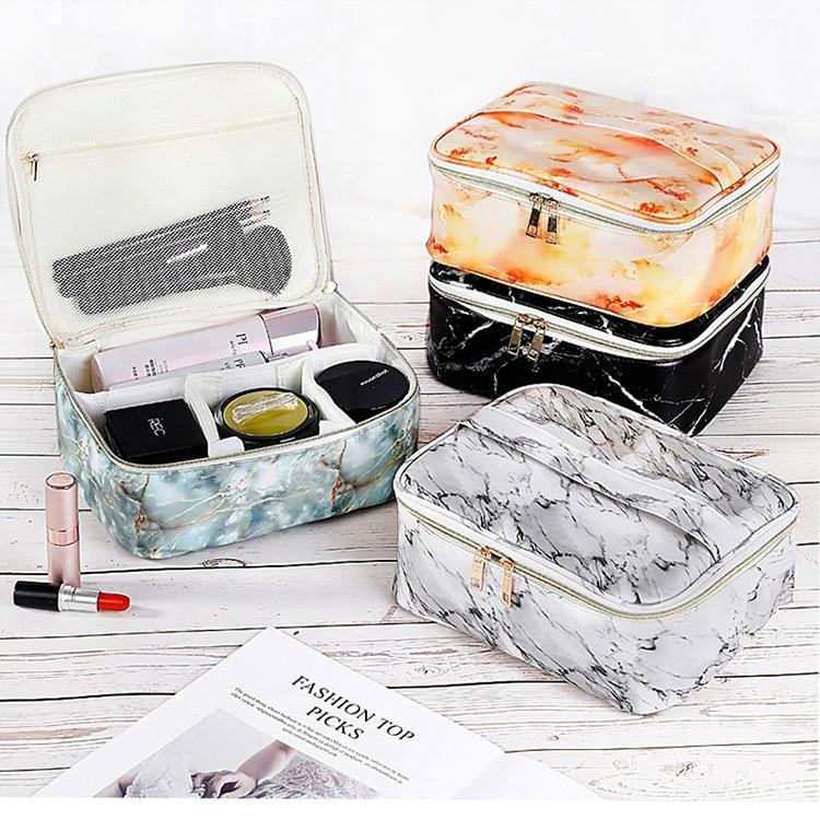 Women PU Marble Veins Cosmetic Bag Zipper Case Makeup Bags Girls Make Up Waterproof Necessaries Storage Organizer Toilet Travel