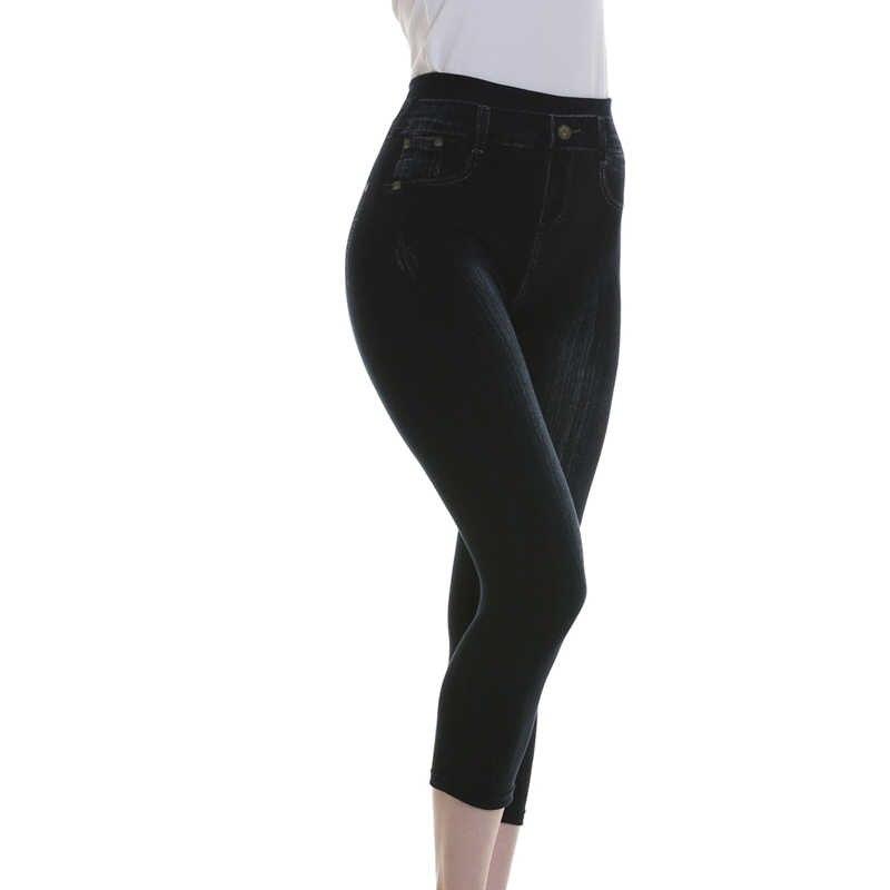 Kobiet krótki Legging 2019 lato 3/4 legginsy kobiety przycięte spodnie kobiety Mock kieszeń spodnie Slim Denim Skinny plus size