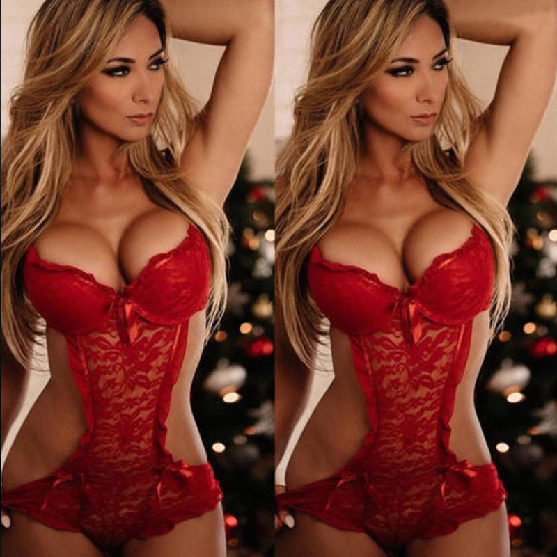 <font><b>XXL</b></font> Plus Size Porno <font><b>Sexy</b></font> Red Lace Babydoll Women <font><b>Lingerie</b></font> Hot Erotic Sleepwear Chemises <font><b>Baby</b></font> <font><b>Dolls</b></font> Dress Teddy image