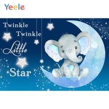 Baby Shower Elephant Backdrop Moon Star Newborn Kids Children Birthday Photography Background For Photo studio Photocall Props