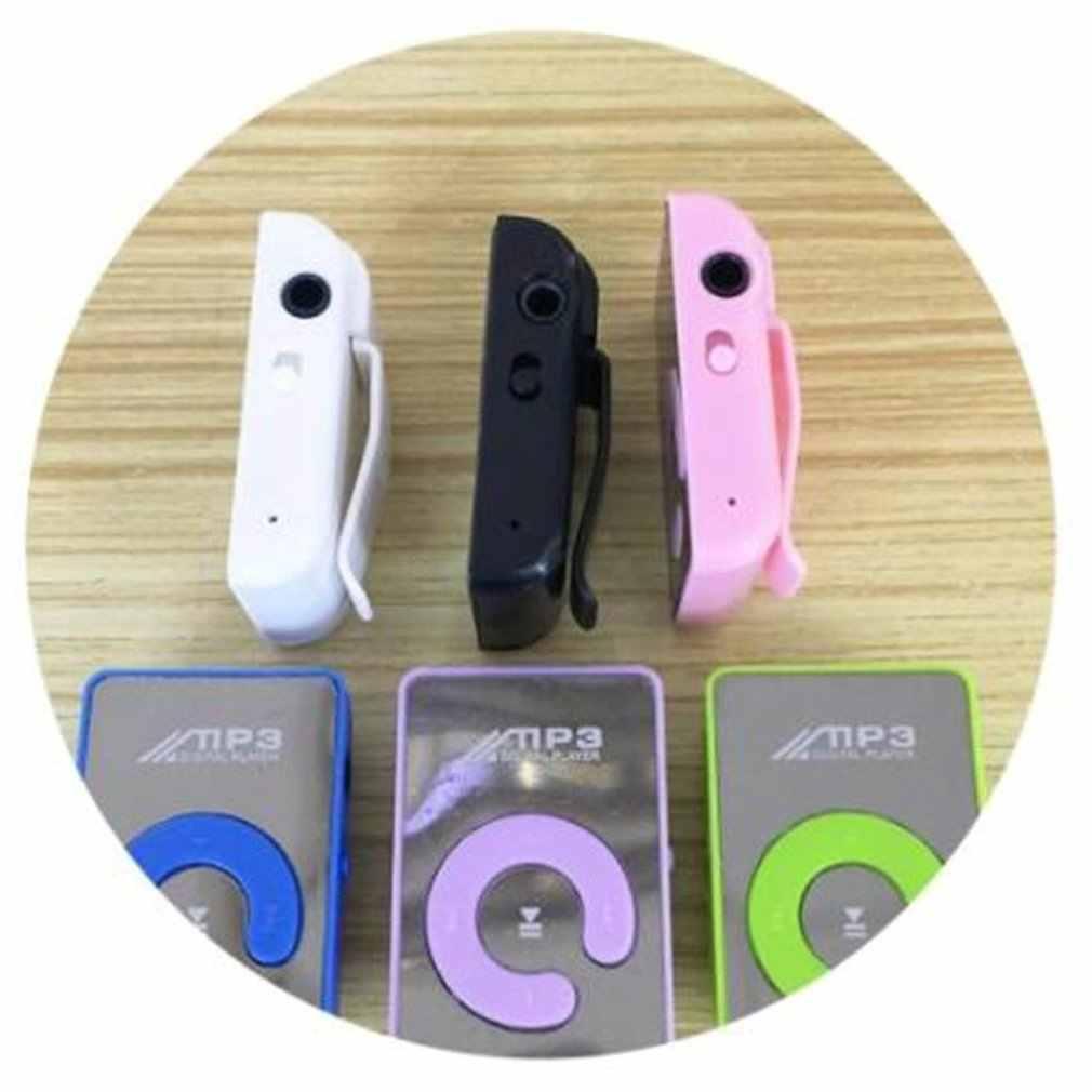 مرآة صغيرة محمولة كليب مشغل MP3 الموسيقى وسائل الإعلام دعم مايكرو SD TF بطاقة الموضة Hifi MP3 للرياضة في الهواء الطلق