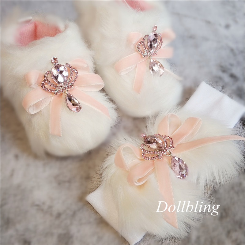 Fluff Toddler Baby Boots Infant Newborn Girl Velvet Shoes 100 Days Rhinestone Royal Crown Snow Boots Headband Princess Booties