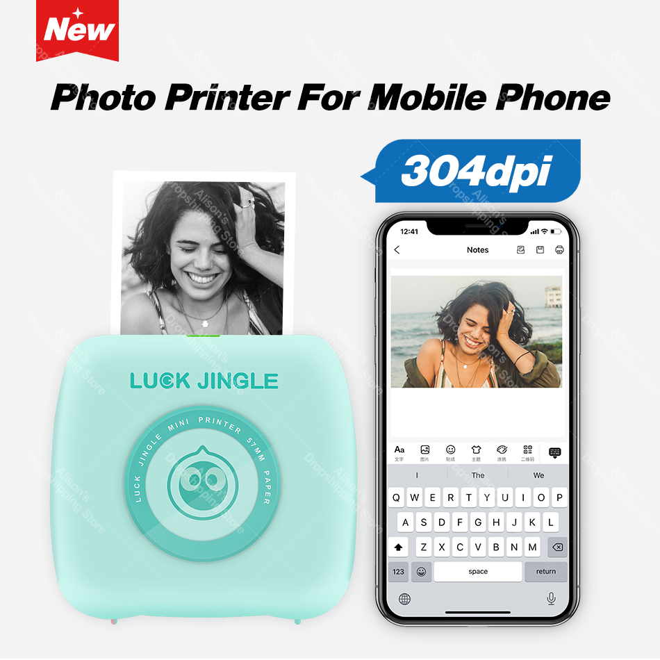 304 Dpi Nieuwe Pocket Photo Printer Mini Bluetooth Thermische Printer 58Mm Draadloze Sticker Label Mobiele Android Ios Telefoon Printer