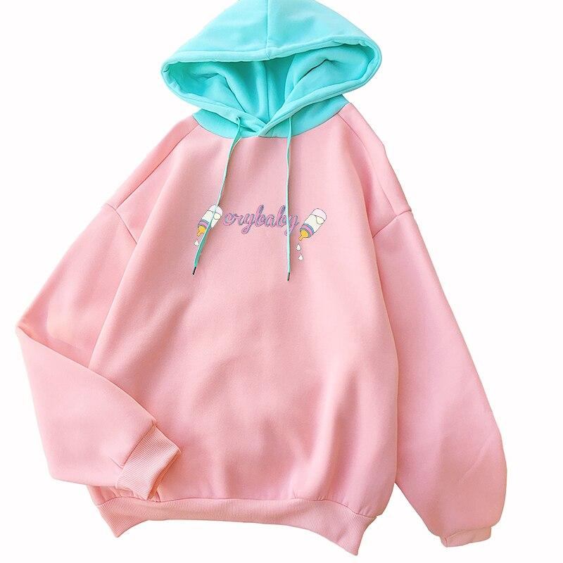 Sudadera Mujer Kawaii Funny Cry Baby Feeding Bottle Printed Sweatshirt Women Streetwear Casual Lovely Fleece Spell Color Hoodies