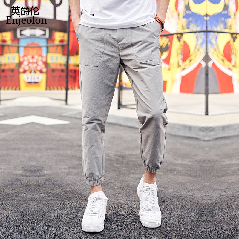 Enjeolon Brand Summer Long Trousers Pants Men Solid Color Casual Pants For Men High Quality Casual Straight Pants Males K6628