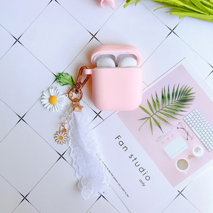 Image 4 - Luxury Cute Korean Flower Decoration Case for Apple Airpods Case ornament Accessories Bluetooth Earphone Silicone Cover Key Ring