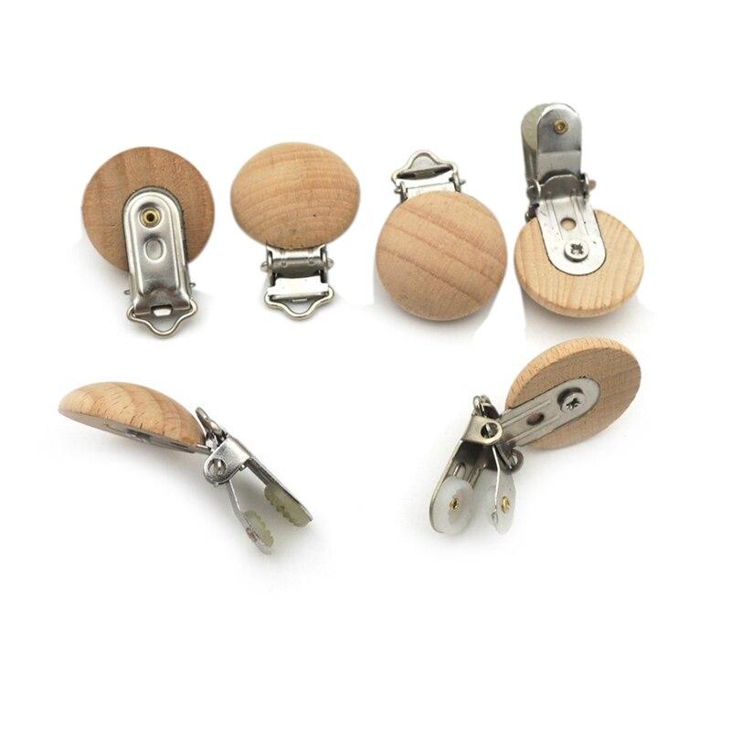 20 pcs de madeira de faia chupeta clipes faia redonda cor natural para o bebe
