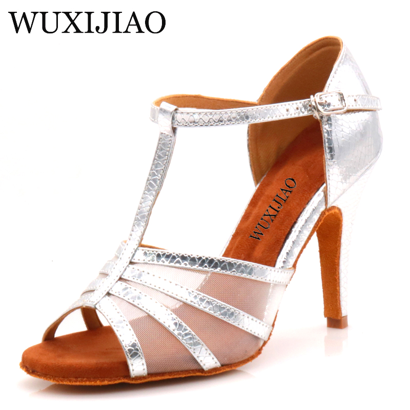Women's Latin Dance Shoes Rhinestone Size US 4-12 Bronze Salsa Satin Shoes For Comfortable 10cm Heel Height Dancing
