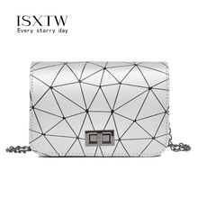 ISXTW Messenger Bag SquareBag Ladies Shoulder 2019 New Chain Geometry Pattern Retro Small Diagonal /A42