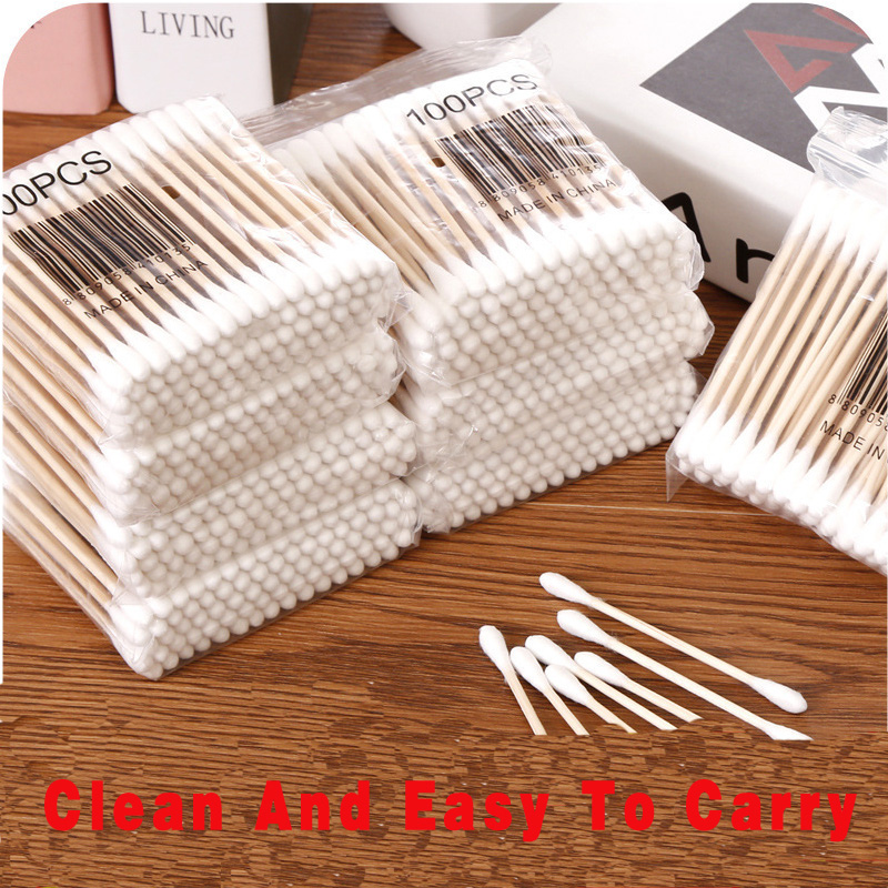 100pcs/50pcs Double Head Cotton Swab Bamboo Cotton Swab Wood Sticks Disposable Buds Cotton For Beauty Makeup Nose Ears Cleaning