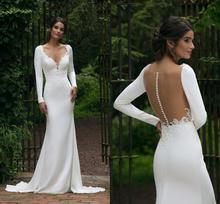 Elegant V Neck Long Sleeve Mermaid Wedding Dress 2020 See Through Illusion Back White Bridal Gowns Lace Appliques Hot Sale