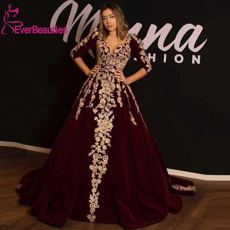Burgundy Velvet Muslim Evening Dress Long 2020 Arabic Dubai Kaftan Gold Lace Applique Ball Gown Turkey Prom Formal Dresses