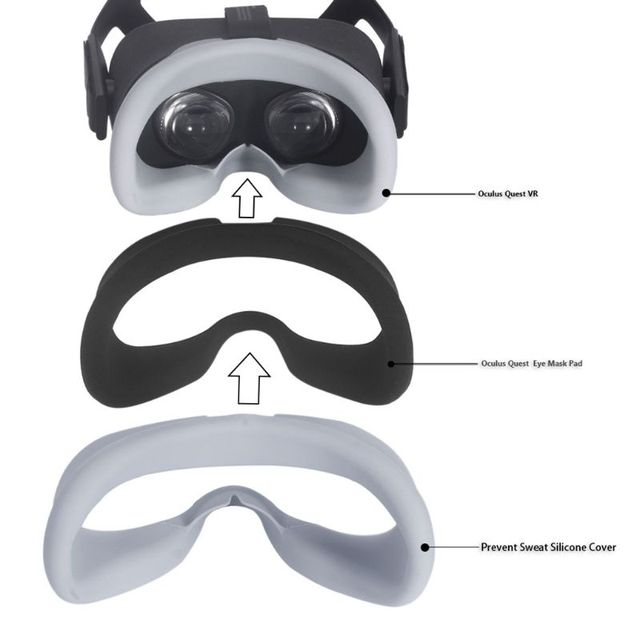 Soft Anti-sweat Silicone Eye Mask Case Cover Skin for Oculus Quest VR Glasses 3