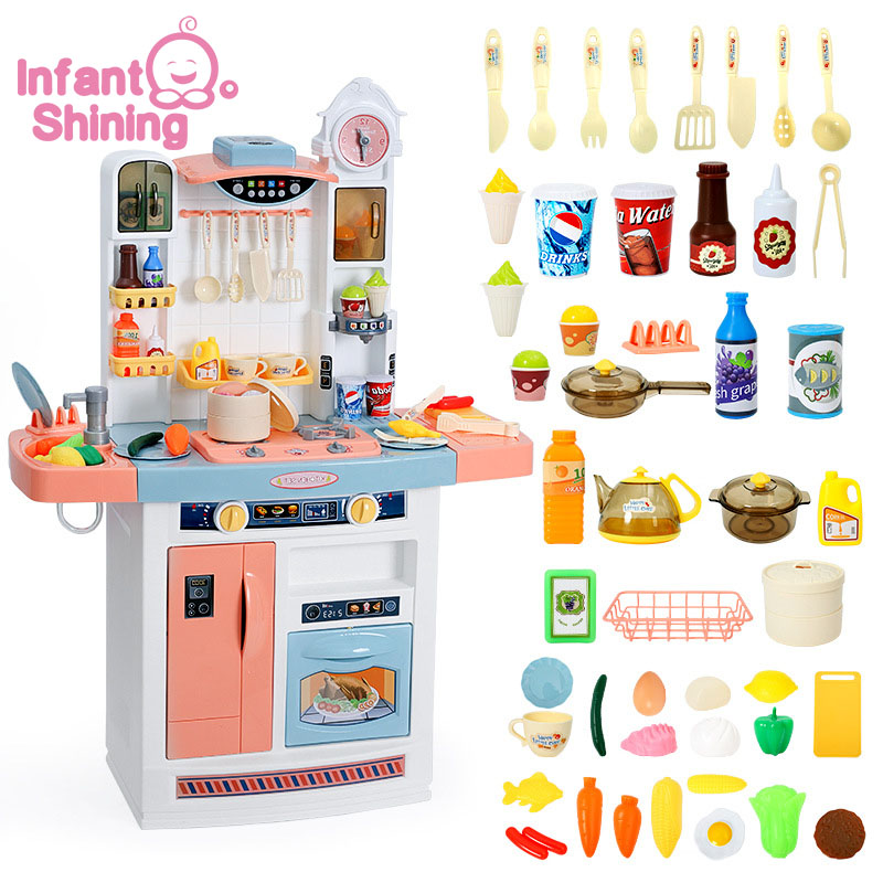 Infant Shining Kid's Kitchen Toys Children Kitchenware Simulation Cooking Toy Set Children's Toys Kitchen For Girls Toy Games