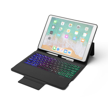 Portable Leather Bluetooth Keyboard Cases for Apple iPad Pro 10.5 inch 2019 Tablet Case Cover with Keyboard LED Backlight