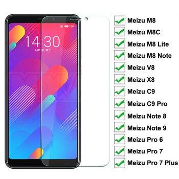 Перейти на Алиэкспресс и купить 9H Защитное стекло для Meizu M8 Lite Note 9 8 закаленное защитное стекло для экрана Meizu M8C V8 X8 C9 Pro 6 7 Plus прозрачная стеклянная пленка