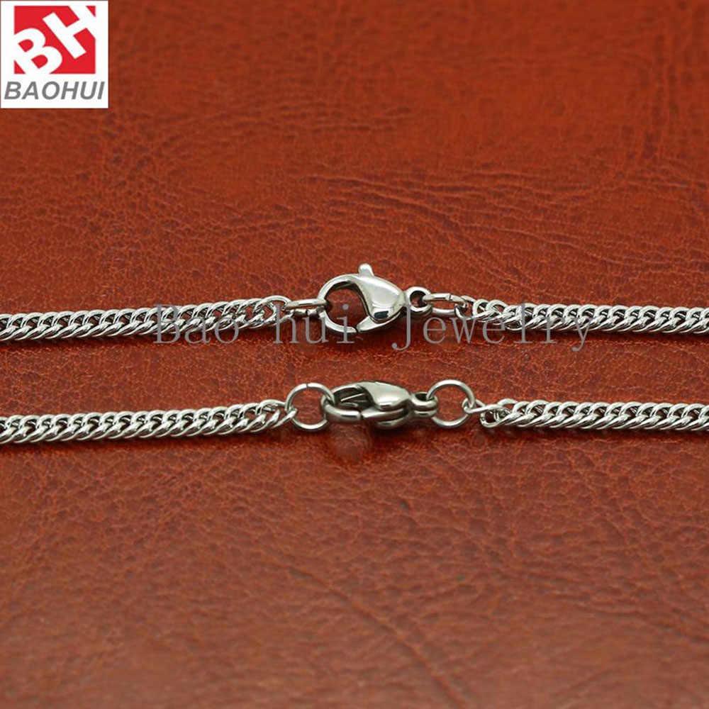 BOFEE 1PC naszyjnik ze stali nierdzewnej 316L długi łańcuch Curb kubański Link mężczyźni kobiety modny wisiorek 2.7MM szeroki hurtownie prezent