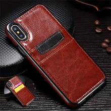 Luxury Genuine Leather Protective Cell Phone Case for iphone 7 8 6 S 6S Plus X XS Portable Credit Card Slot Holder Wallet Covers