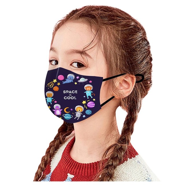 Children Kids Face Mouth Mask Planet Space Print Mouth-muffle Cute Mask For Girls Boys Adjustable Ear Loops Reusable Mask New #z 3