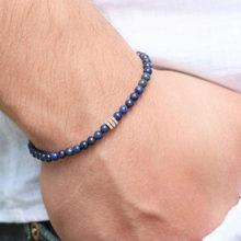 Pulseira masculina lapis lazuli em pulseira fina empilhamento pulseira para homens frisado pulseira