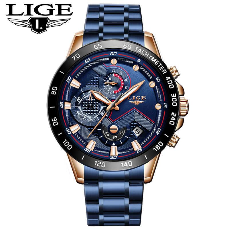 2019 yeni erkek saatler LIGE üst lüks marka İş mavi paslanmaz çelik quartz saat erkek rahat su geçirmez tarih Chronograph