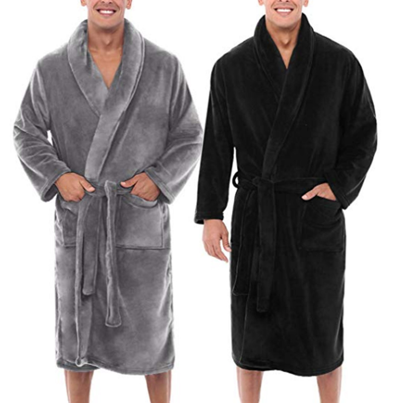 Mens Winter Warm Plush Lengthened Shawl Bathrobe Home Shower Clothes Long Robe Coat A66