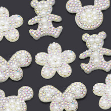 10Pcs Shining Pearl Patches AB Rhinestone Applique For Clothes White Base Cartoon Bear/Flower/Butterfly