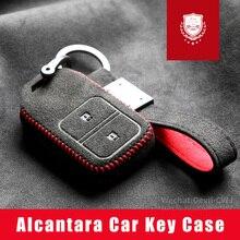 Real Alcantara Key Case For Honda CRV Civic Accord Vezel XRV Fit Crider City Avancier Odyssey Elysion Spirior Key Case Shell