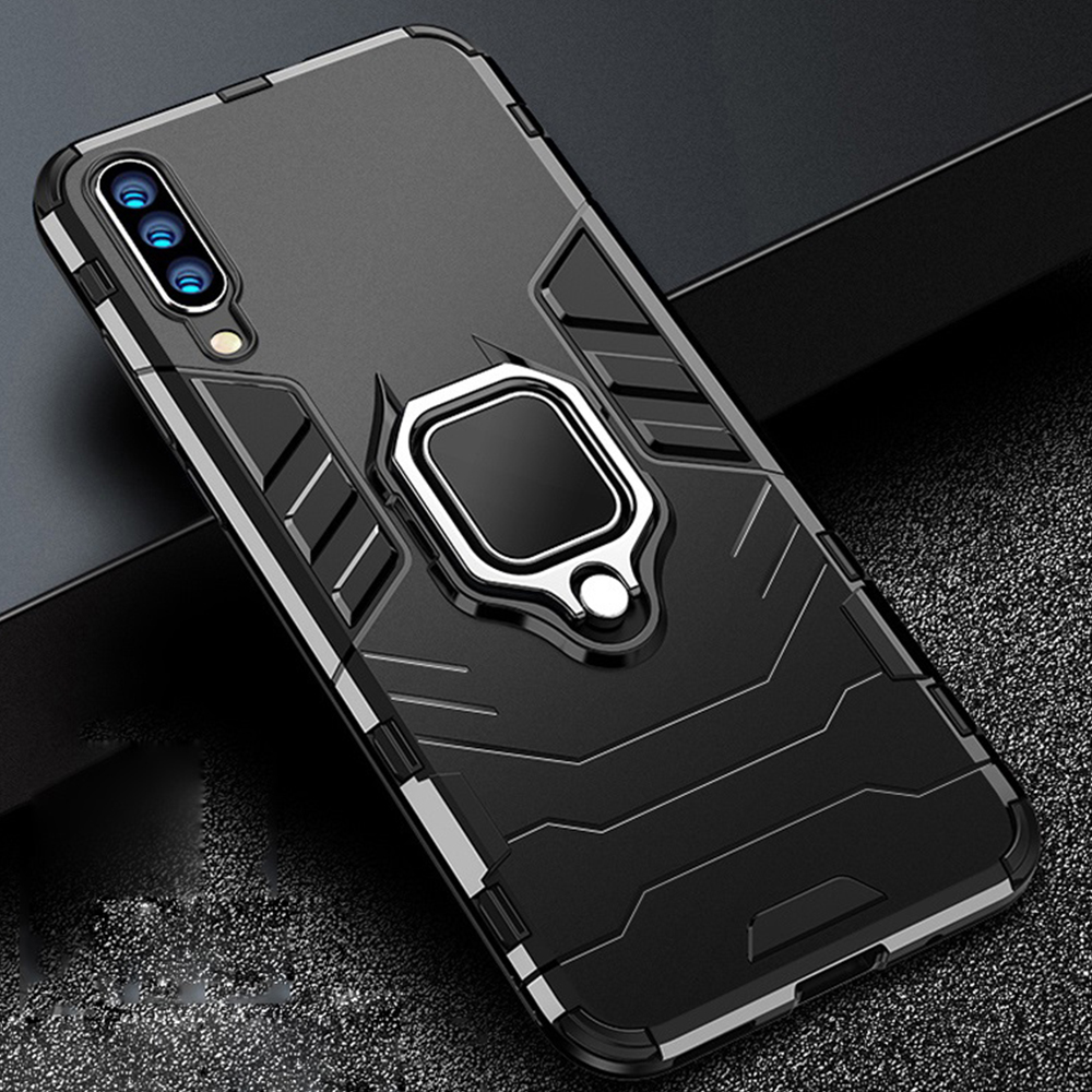 H992c080119394b5da04e2e1c828222fcL For Xiaomi Mi A3 Case Armor PC Cover Finger Ring Holder Phone Case For Mi A 3/Mi CC9 CC 9e Cover Shockproof Bumper TPU Rim Shell