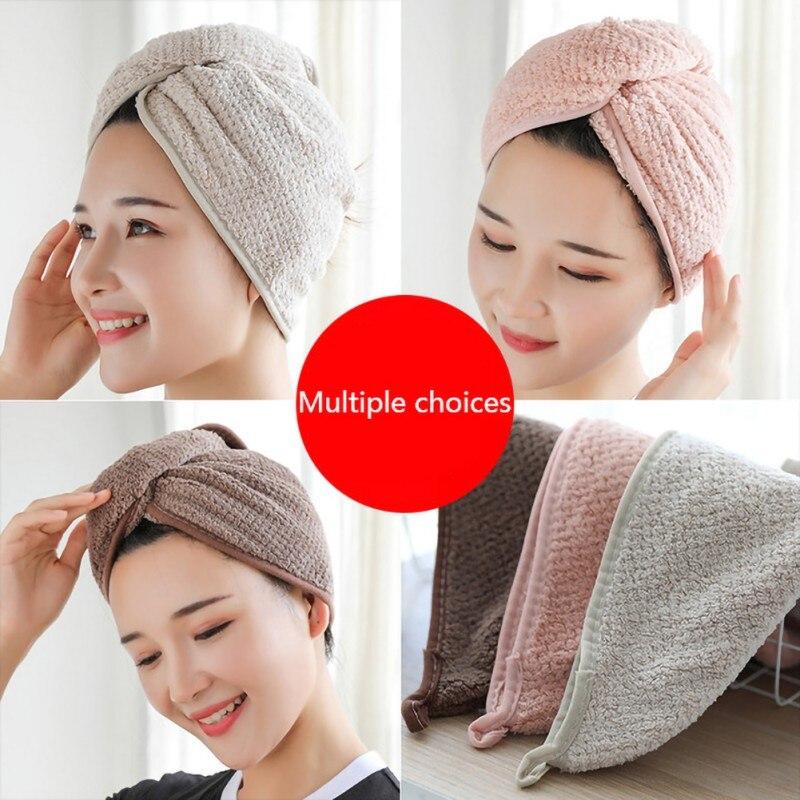 Magic Hair Drying Towel Hat Cap Wrap Microfibre Quick Dry Turban For Bath Shower