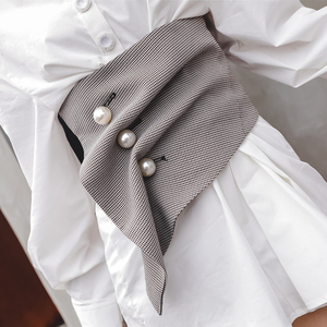 Image 4 - אופנה סדיר משובץ שלושה ממדי פרל אבזם חגורת בציר גבוה מותן Slim נשים אבנט