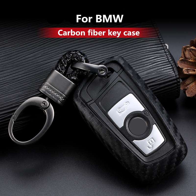 Carbon Fiber Pattern Silicone Key Cover Case Keychain For BMW 520 525 730li 740 118 320i 1 3 5 7 Series X3 X4 M3 M4 M5