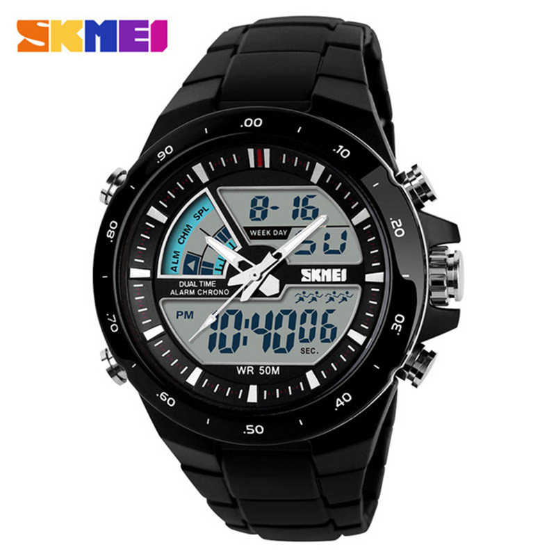 SKMEI Mode Eenvoudige Sport Horloge Mannen Horloge 5Bar Waterdichte Outdoor Horloges Dual Display Digitale herenhorloge Relogio Masculi